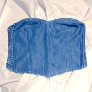 Kimchi Blue Denim Soft Stretchy Corset Halter Top